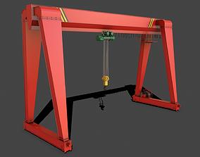 3D asset PBR Single Girder Gantry Crane V2 - Red