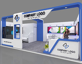 Exhibition stall 3d model 7x4 mtr 1 side open