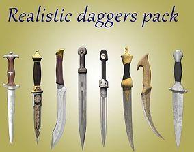 Realistic set of daggers 3D asset