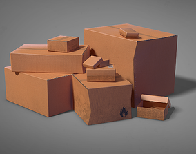3D asset realtime Cardboard Box Pack