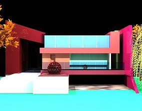 3D model exterior design bunglow low poly