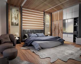 3D model Bedroom scene for archviz