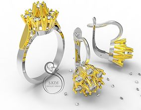 3D model Ring and earrings with brilliant
