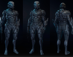 3D Robot soldier High-poly model