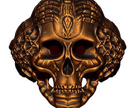 biomechanic cybernetic skull ring 3D print model