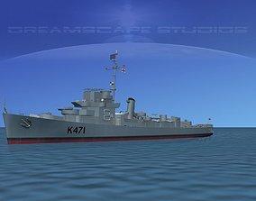 3D model UK Captains Class Frigate HMAV Cooke