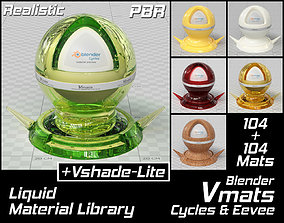 3D VMATS Liquid Material Library for Blender Cycles and