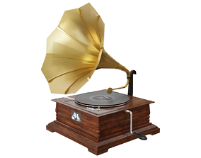 melody Gramophone 3D asset game-ready