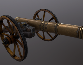 3D asset Gun low poly
