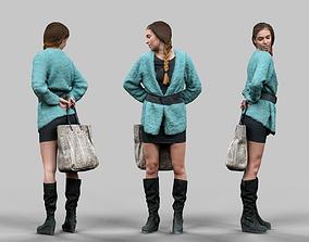 3D asset Fluffy Green Coat Girl