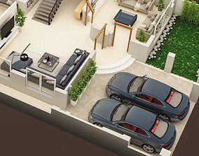 3D FLOOR PLAN OF GROUND FLOOR OF 1 KANAL HOSUE RESIDENCE
