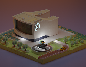 Avengers Hq lowpoly 3D asset