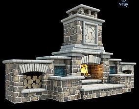 3D asset Outdoor Fireplace 011