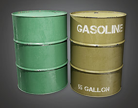 Military Gas Drum Barrel - MLT - PBR Game Ready 3D model