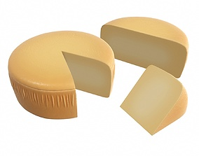 Cheese wheel with a piece of cheese 3D model