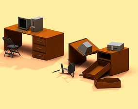 3D model Post Apocalyptic Desk and PC