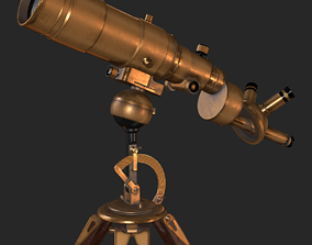 Old Antique Telescope PBR 3D asset