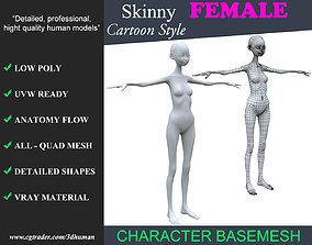 Low poly Cartoon Skinny Female Basemesh 001 - 3D model