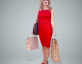 3D Woman with Red Dress and Sopping Bags