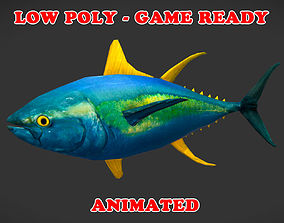 Low Poly Yellowfin Tuna Fish Animated - Game 3D asset