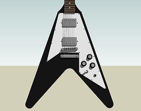 3D model Guitar - Gibson Flying V - Black Finish