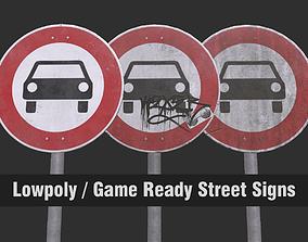 VR / AR ready Lowpoly CITY TRAFFIC STREET SIGN No Cars 4