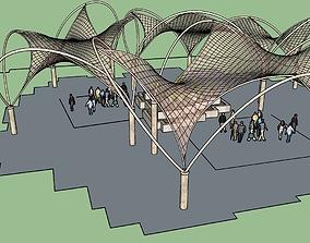 urban furniture canopy shelter 3D