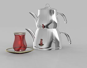 Steel Teapot and Cup 3D model