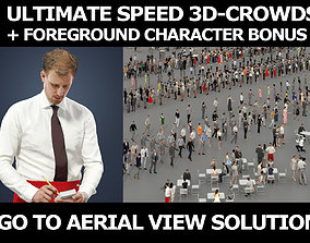 3d people crowds and a foreground Mistery waiter man