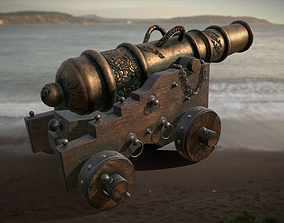 3D asset game-ready Old Naval Cannon
