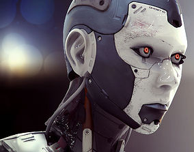 3D model High Poly Female Cyborg Head