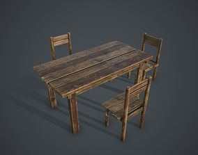 3D model game-ready old Table and Chairs