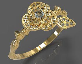 3D print model ring flower jewelry