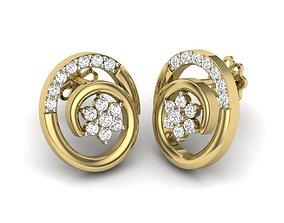 Women earrings 3dm detail 3D print model gold