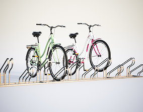 3D model Bike stand with two colorful bikes