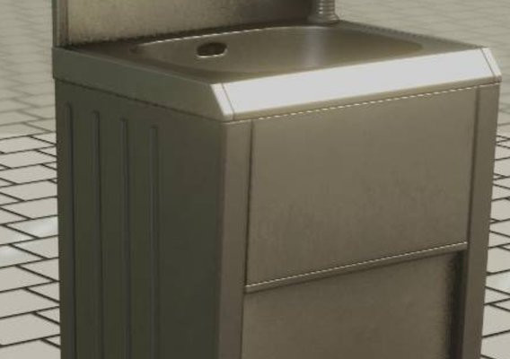Public Metal Sink  - 28 - with Mirror Low-Poly (Blender-2.92)