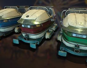Carnival Roller Coaster Carts 3D asset