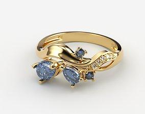 jewellery Women ring with gems 3dm stl