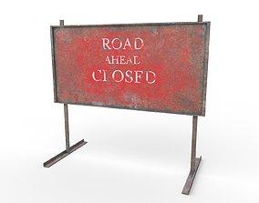 3D model realtime Warning Road Signs - PBR