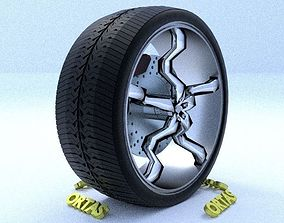 ORTAS CAR RIM 18 GAME READY RIM TIRE AND DISC 3D model