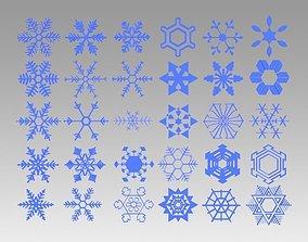 3D model Snowflakes set