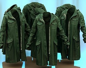 3D asset Long Green Coat Open