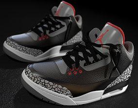 Air Jordan 3 Black Cement 3D