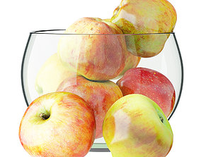 3D model Apples in a Glass Round Vase