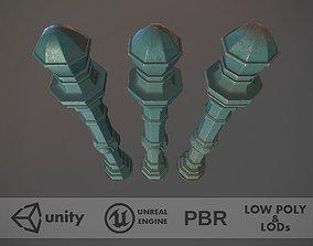 3D model Barrier Bollard Pack 2 v2 Green Three Texture 1