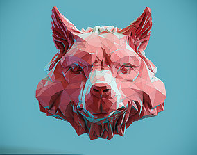 3D print model Wolf Head low poly pendant Papercraft
