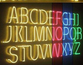 Light modules Set 25 Neon Alphabet 3D model