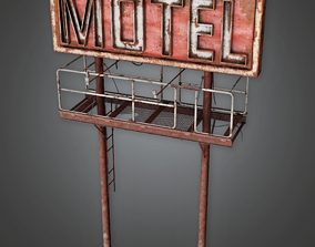 Post Apocalyptic Abandoned Sign 01 - PAS - PBR 3D asset 1