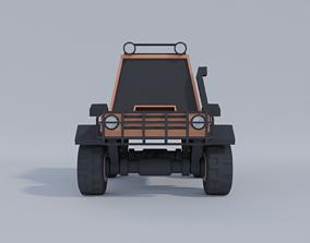 Low-poly car model 3D asset