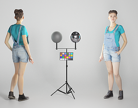 Cute young woman in denim overalls 228 3D model